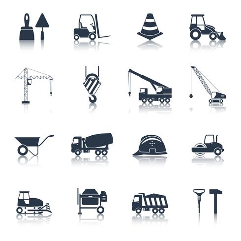 Icone di costruzione nere vettore