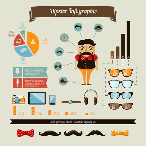 Insieme di elementi di infographics di hipster con ragazzo geek vettore