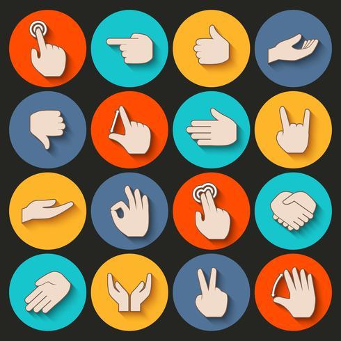 Set di icone di mani vettore