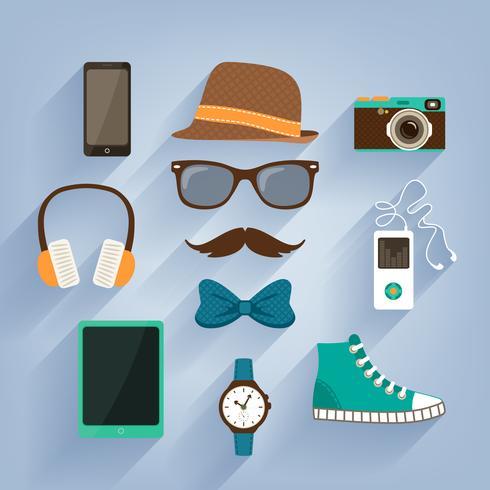 Set di elementi accessori hipster vettore