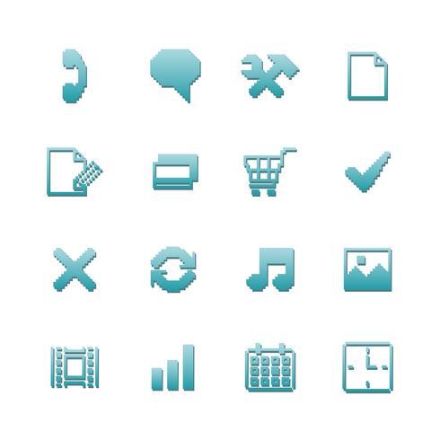 Icone pixel impostate per la navigazione vettore
