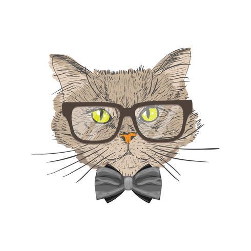 Ritratto di gatto hipster vettore