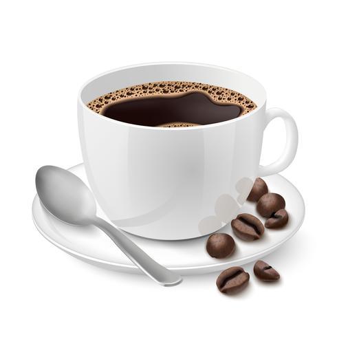 Realistico bicchiere bianco riempito con caffè espresso vettore