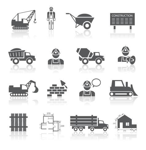 Collezione di pittogrammi di costruzione vettore