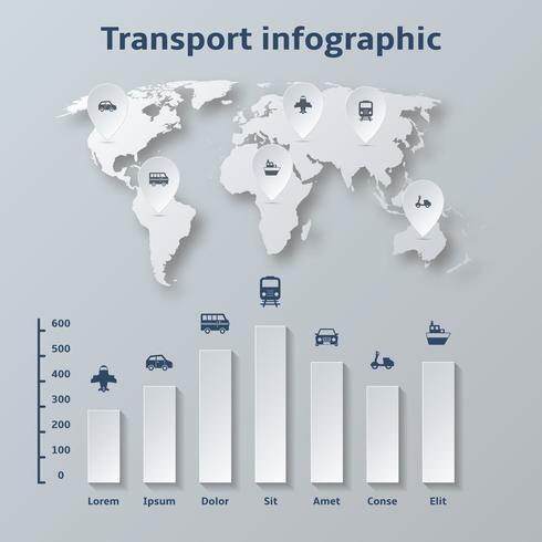 Elementi di infografica di carta di trasporto vettore