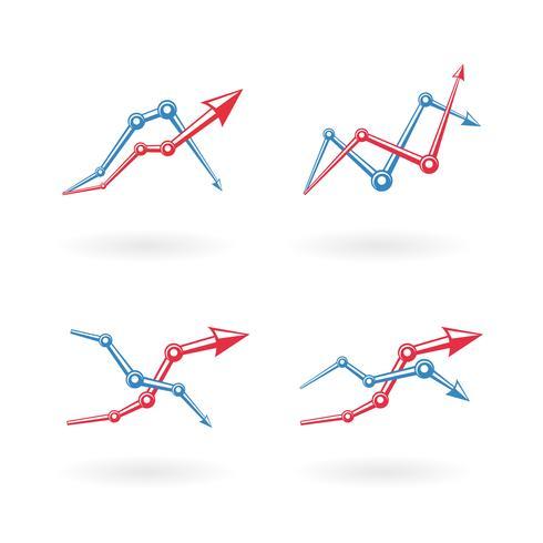 Set di icone del grafico aziendale vettore