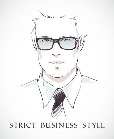 Ritratto di uomo d'affari di moda vettore