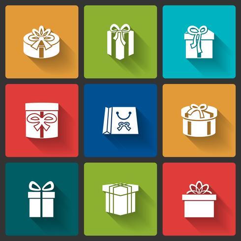 Icone di scatole regalo vettore