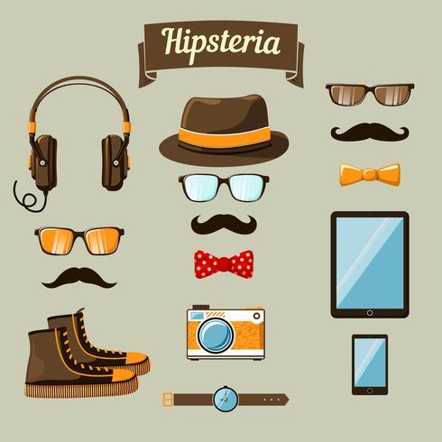 Set di icone di dispositivi hipster vettore