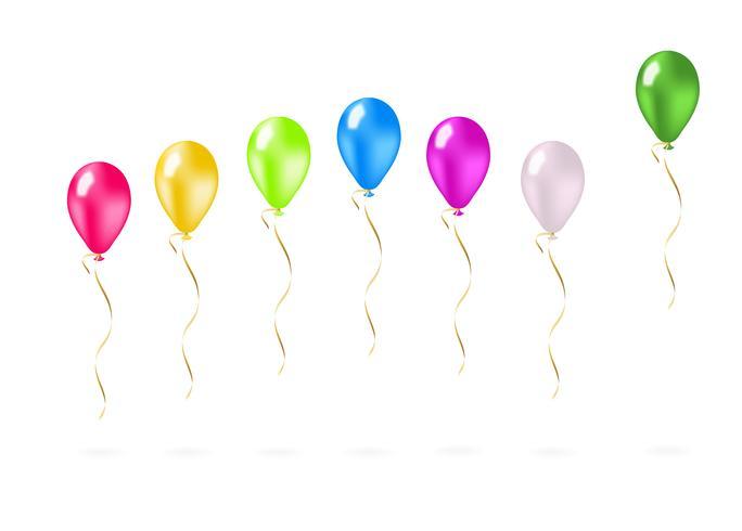 Palloncini volanti colorati in una riga vettore