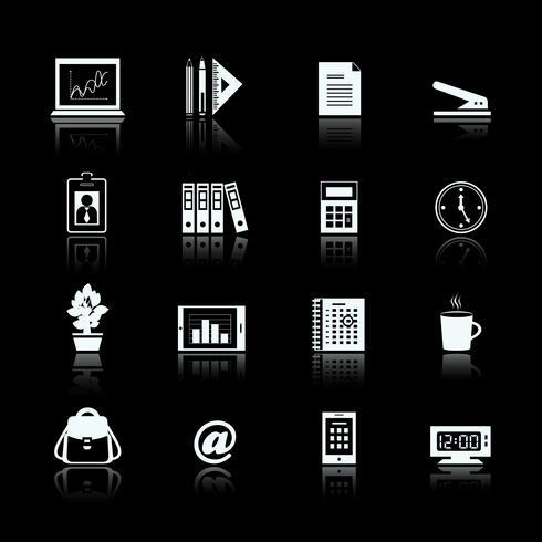 Set di pittogrammi di forniture ufficio affari vettore