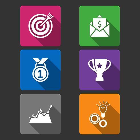 Set di icone del vincitore di affari vettore