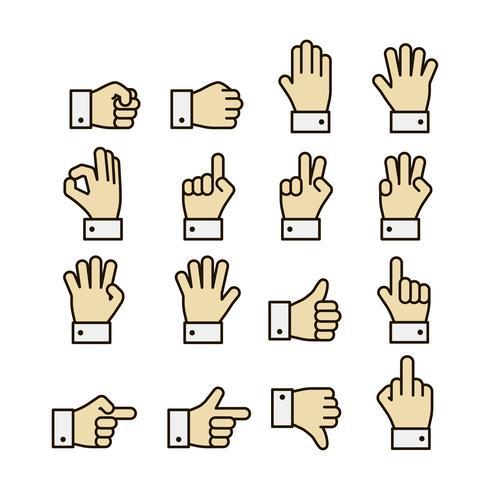 Set di icone di gesti delle mani, contrasto di colore vettore