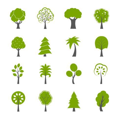 Raccolta di set di icone di alberi verdi naturali vettore