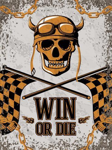 Poster retrò con elementi di design moto vettore