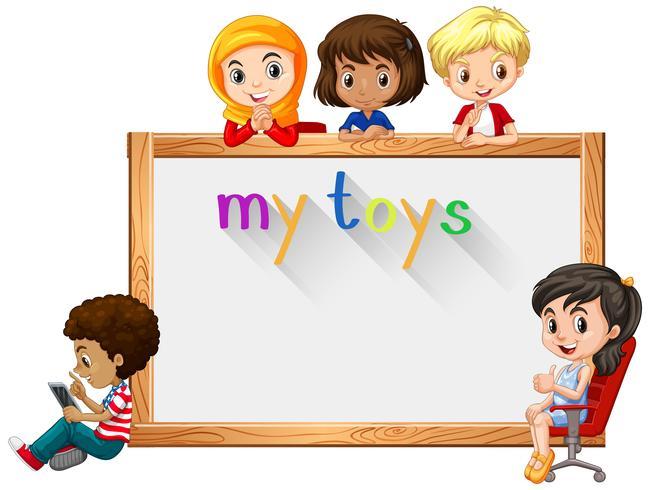 Modello di cornice con bambini e giocattoli vettore