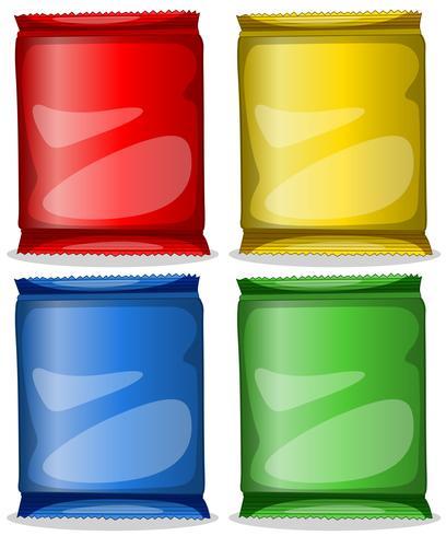 Quattro contenitori colorati vettore