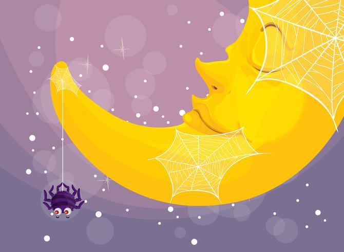 un ragno e una luna vettore