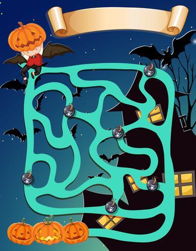 Modello di gioco con tema halloween vettore