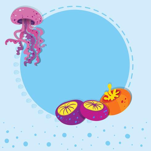 Disegno del bordo con meduse vettore