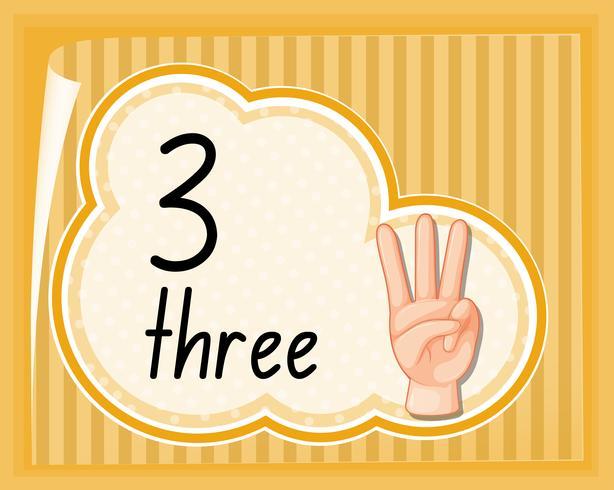 Numero tre gesto della mano vettore
