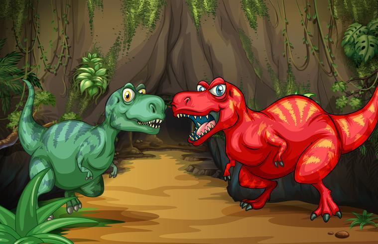 Due dinosauri vicino alla grotta vettore