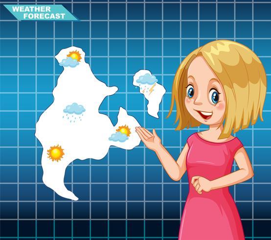 Previsioni meteo per ragazza vettore