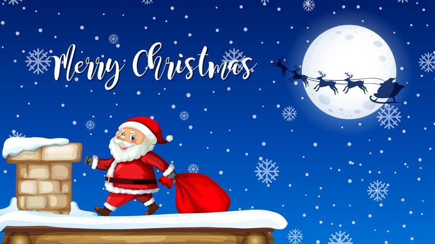 Regalo di consegna Santa dal camino vettore