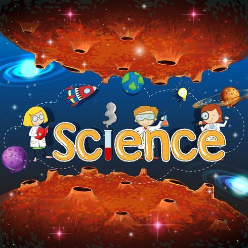 Banner di scienza sul modello del pianeta vettore
