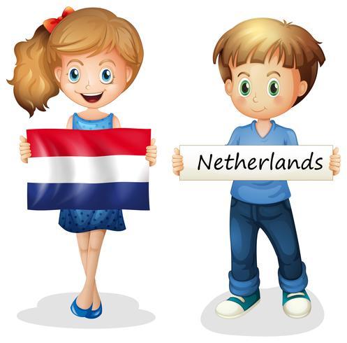 Ragazzo e ragazza con la bandiera dei Paesi Bassi vettore