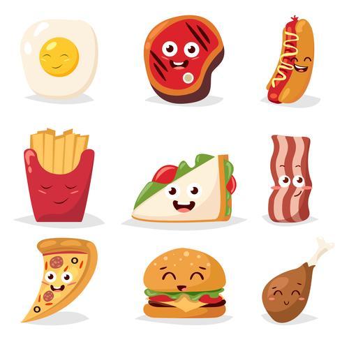Set di icone di fast food vettore