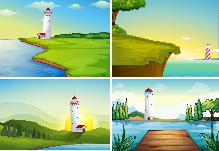 Quattro scene della natura con il faro sull'oceano vettore