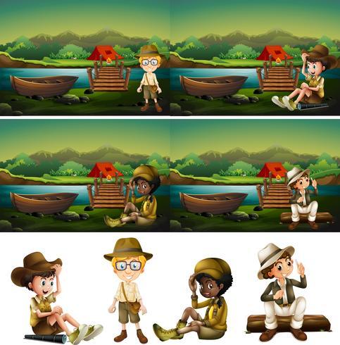 boy scout in campeggio nel bosco vettore