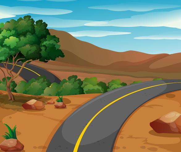 Scena di montagna con strada vuota vettore