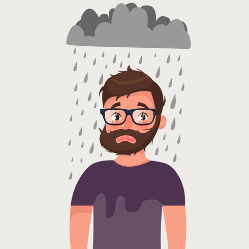 Uomo sfortunato con cattivo umore sotto la pioggia. vettore