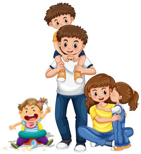 Famiglia con genitori e tre bambini vettore