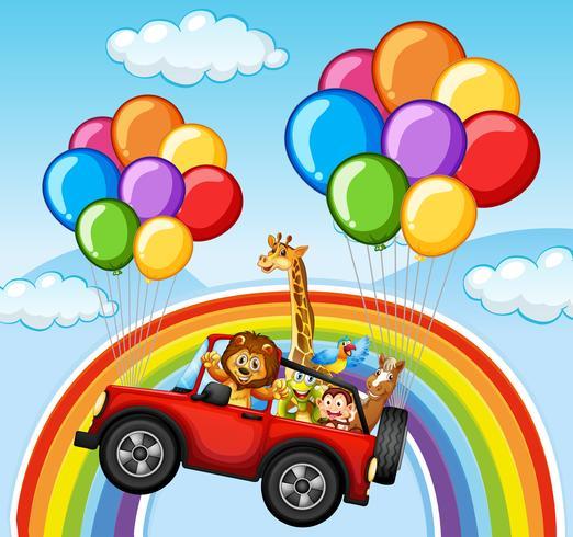 Animali selvaggi in jeep oltre l'arcobaleno vettore