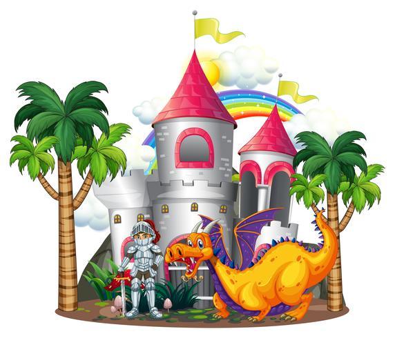 Cavaliere e drago alle torri del castello vettore