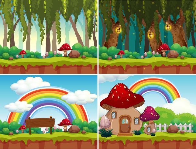 Un insieme di paesaggi di funghi vettore