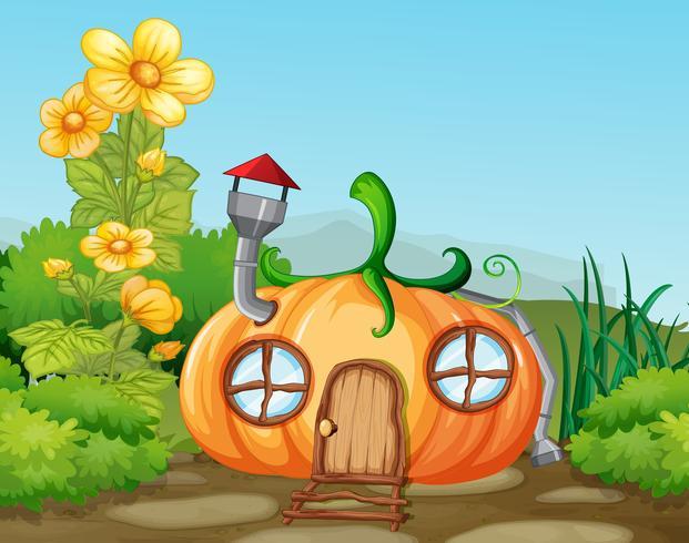 Casa di zucca incantata in natura vettore