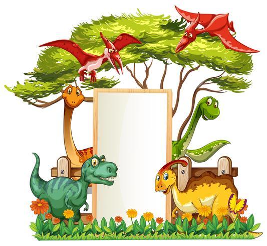 Modello di banner con molti dinosauri in giardino vettore