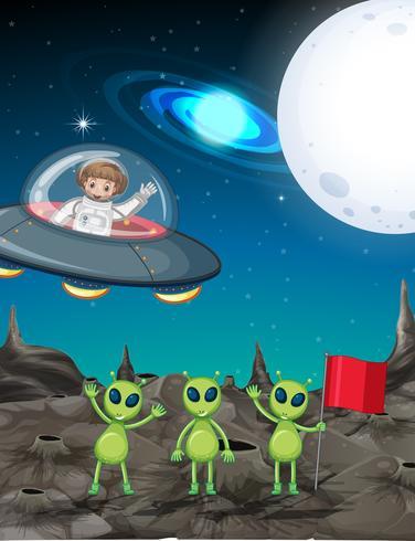 Tema spaziale con astronauta e tre alieni vettore