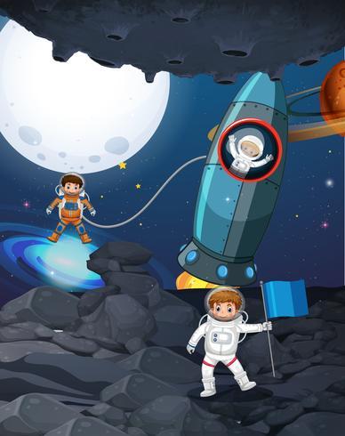 Tre astronauti nello spazio buio vettore
