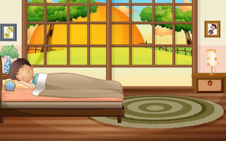 Ragazzo che dorme nella camera da letto vettore