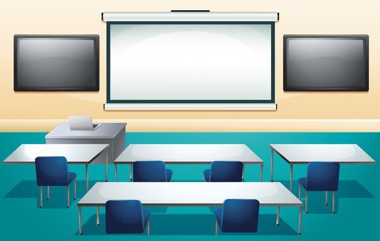 Aula con schermi e tavoli vettore