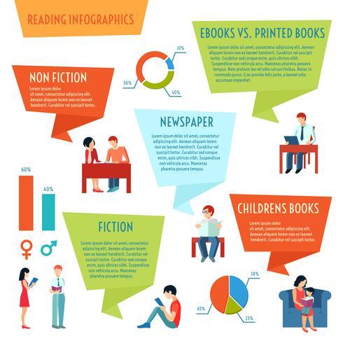 leggendo infografica persone vettore