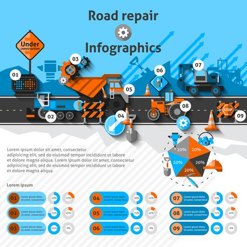 Infografica riparazione stradale vettore