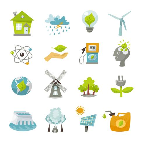 Icone di energia eco piatte vettore