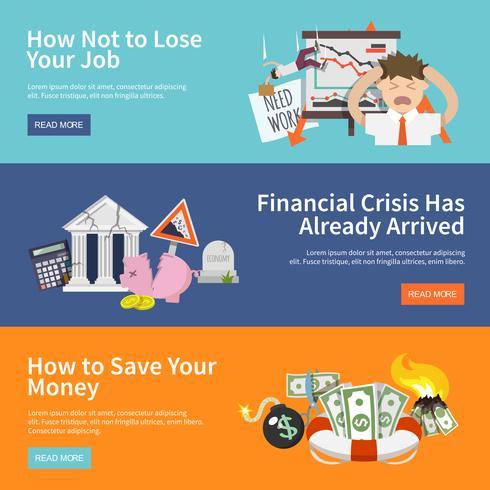 Banner di crisi economica vettore