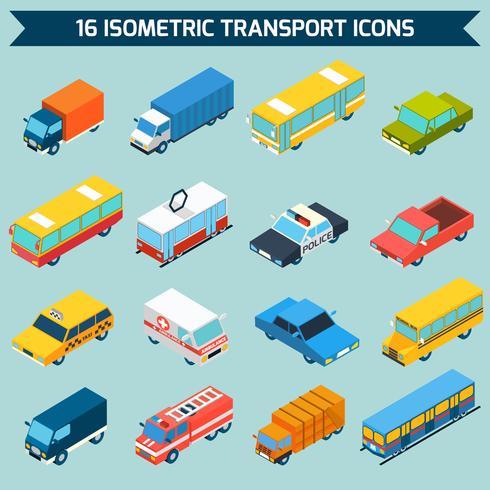 Set di icone di trasporto isometrica vettore